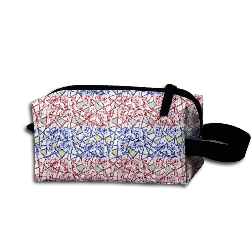 Makeup Cosmetic Bag Animal Lines Pattern Zip Travel Portable Storage Pouch For Men Women