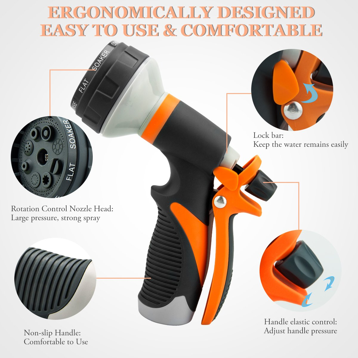 Hose Nozzle Garden Hose Nozzle Hose Spray Nozzle Leak Free High Pressure Heavy Duty 8 Pattern For Watering Plant Washing Cars Pets Shower by Easynozzle (Image #6)