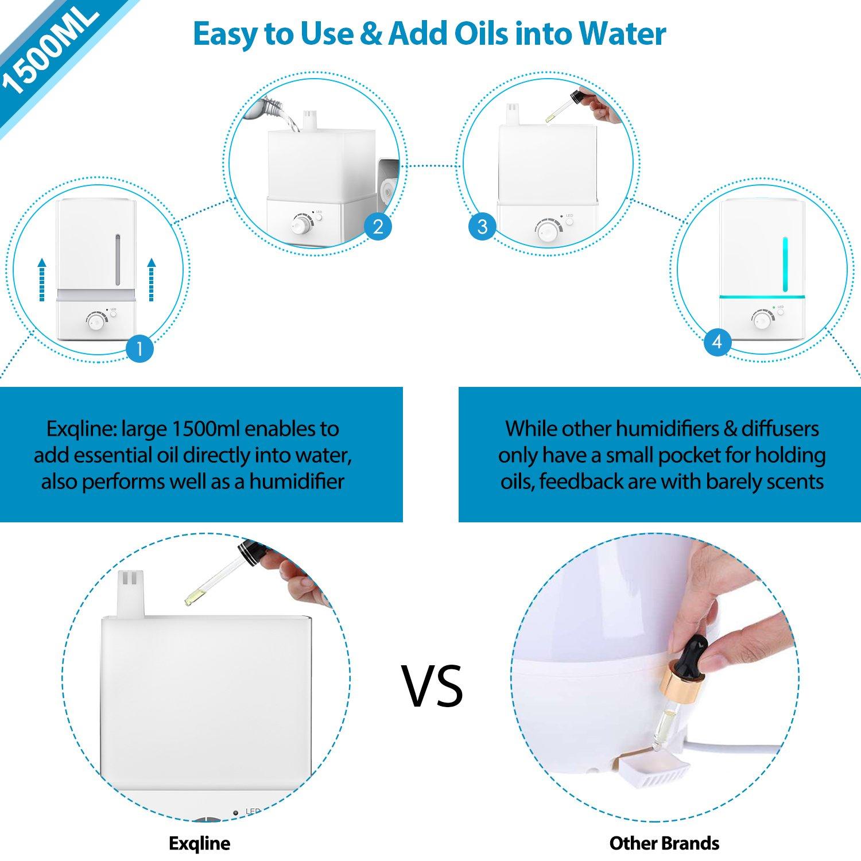 Amazon.com: 1500ml Aroma Essential Oil Diffuser Large – Exqline ...