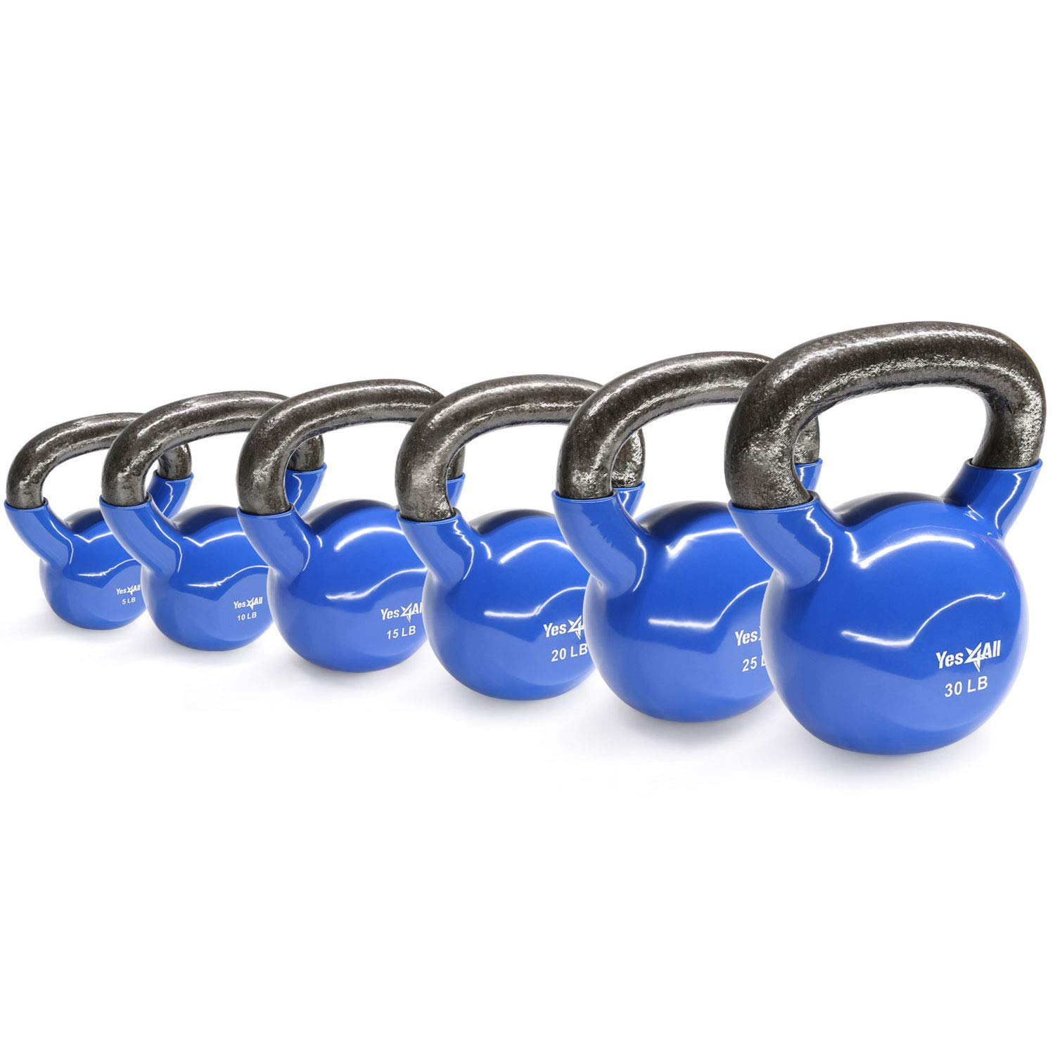 Yes4All Combo Vinyl Coated Kettlebell Weight Sets – Great for Full Body Workout and Strength Training – Vinyl Kettlebells 5 10 15 20 25 30 lbs by Yes4All (Image #3)