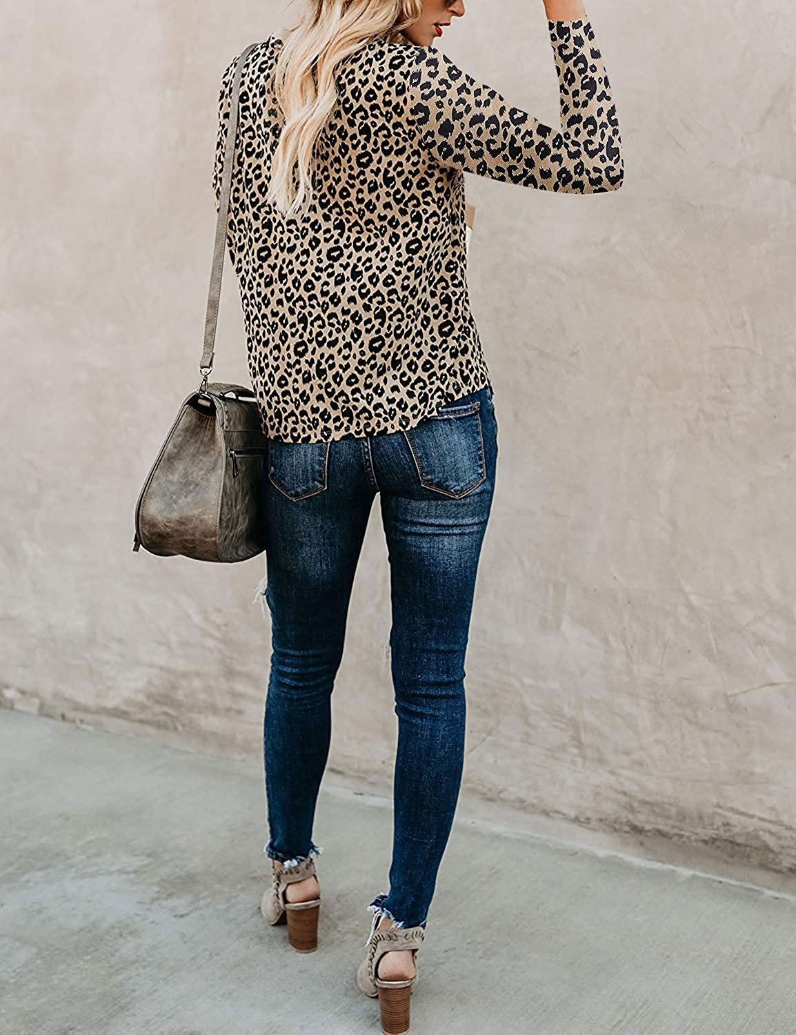 Womens Long Sleeve Leopard Animal Camo Tops Knot Twisted Pullover Sweatshirt Loose T Shirt Blouses Tunic Tops Asymmetric Jumpers