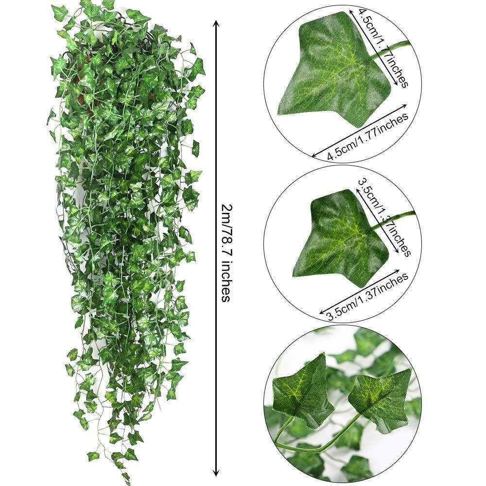 Artificial Hanging Plants Fake Flowers Leaves Long Green Silk Ivy Vine Garland