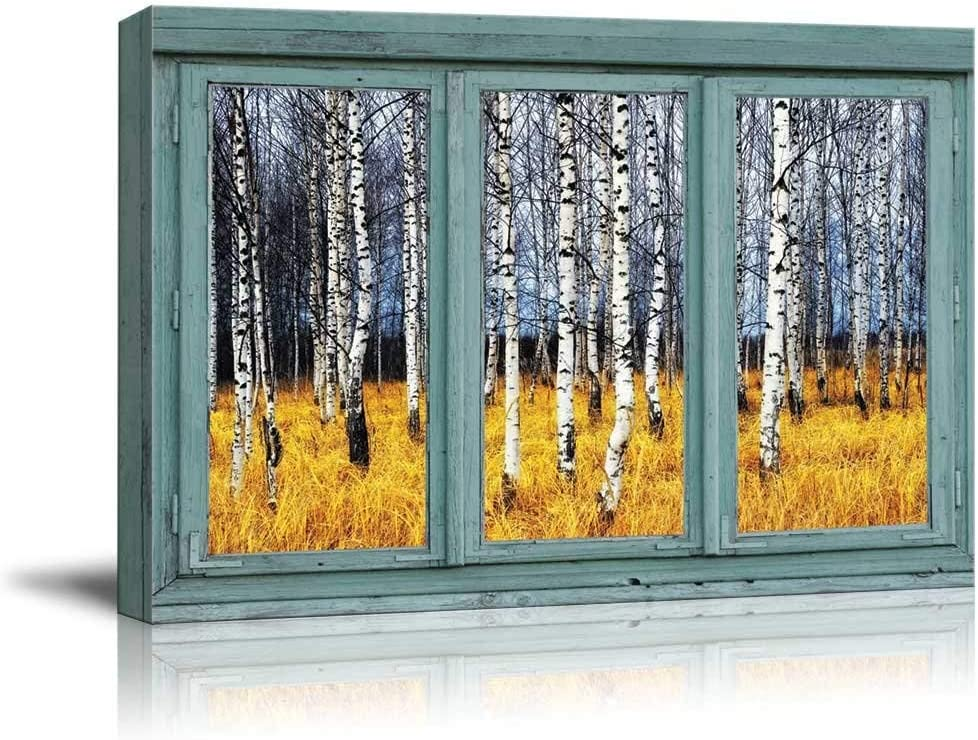 wall26 - Vintage Teal Window Looking Out Into a an Aspen Tree Forest During Fall Time - Canvas Art Home Art - 24x36 inches