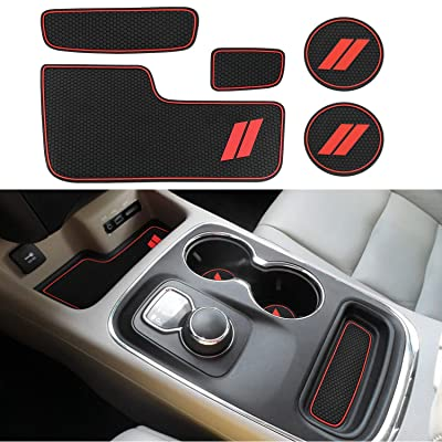 Mekar Anti-dust Custom Fit for 2014-2020 Dodge Durango Cup Holder Insert & Center Console Shifter Liner Trim Mats | 5pc Custom Fit Non Slip Storage Bin Mat Set Interior Accessories: Automotive