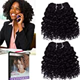 Emmet 2pcs/lot 100g Short Wave 8Inch Brazilian Kinky Curly Human Hair Extension, with Hair Care Ebook (1#)