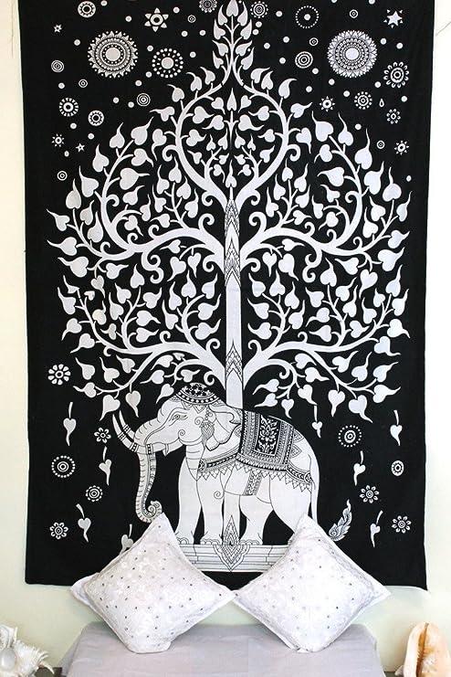 Stylo Culture - Tapiz de mandala, color negro, estampado indio, hippie, gitano, algodón, diseño de elefante, mandala, decoración india para colgar en la pared: Amazon.es: Hogar
