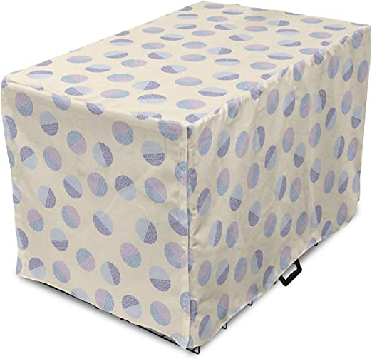 Lunarable Polka Dot Dog Crate Cover, Abstract Half Circles Motifs Traditional Retro Shapes on Cream Colored Background, Easy to Use Pet Kennel Cover for Medium Large Dogs, 35