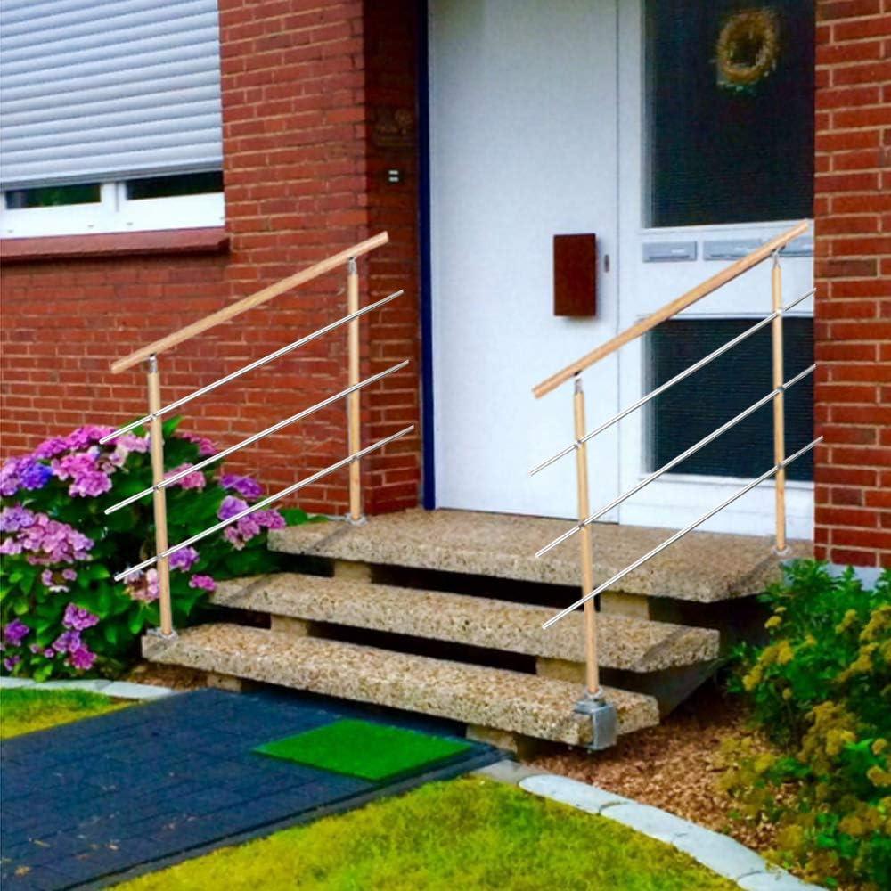 escaliers balcon rampe rampe pour int/érieur et ext/érieur UISEBRT Rampe descalier en acier inoxydable avec 2//3 barres transversales