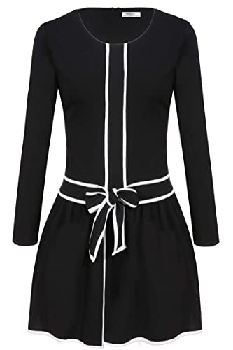 Meaneor Women's Casual Long Sleeve Bow Belted Pleated Fit and Fare A-line Dress