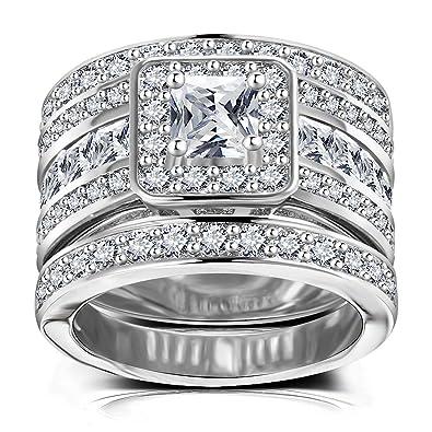 Amazon Com Princess Cut Wedding Rings Set Square Cluster Cz