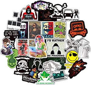 Hacker Stickers Cartoon Laptop Stickers Vinyl Sticker Computer Car Skateboard Motorcycle Bicycle Luggage Guitar Bike Decal 50pcs Pack (Hacker)