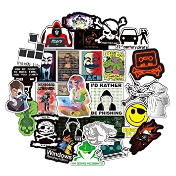 Hacker Stickers Cartoon Laptop Stickers Vinyl Sticker Computer Car Skateboard Motorcycle Bicycle Luggage Guitar Bike Decal 50pcs Pack (Hacker)