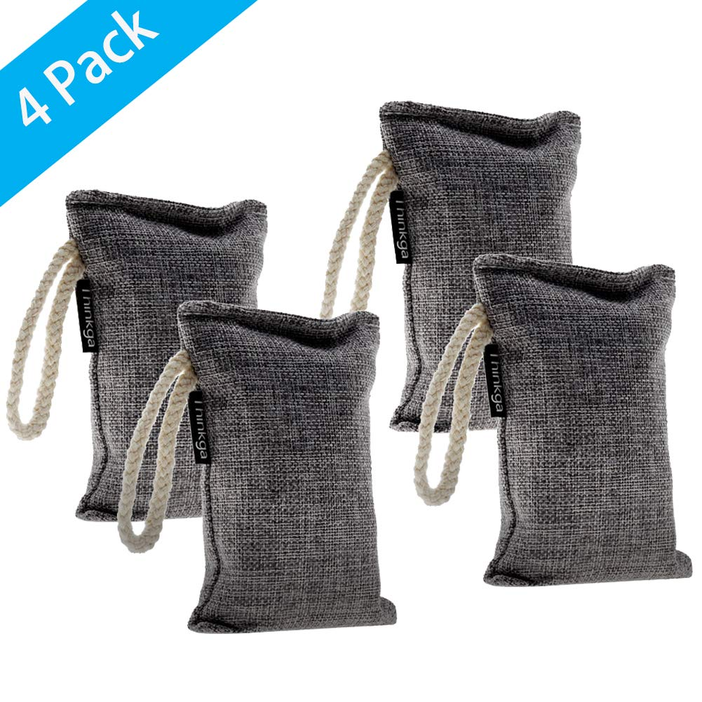 Thinkga Bamboo Charcoal Air Purifying Bag, 4 Pack/Set 100g, Used for Car, Closet, Bathrooms and Pet Areas to Remove Odor, Absorb Moisture, Fresh Air Mashion