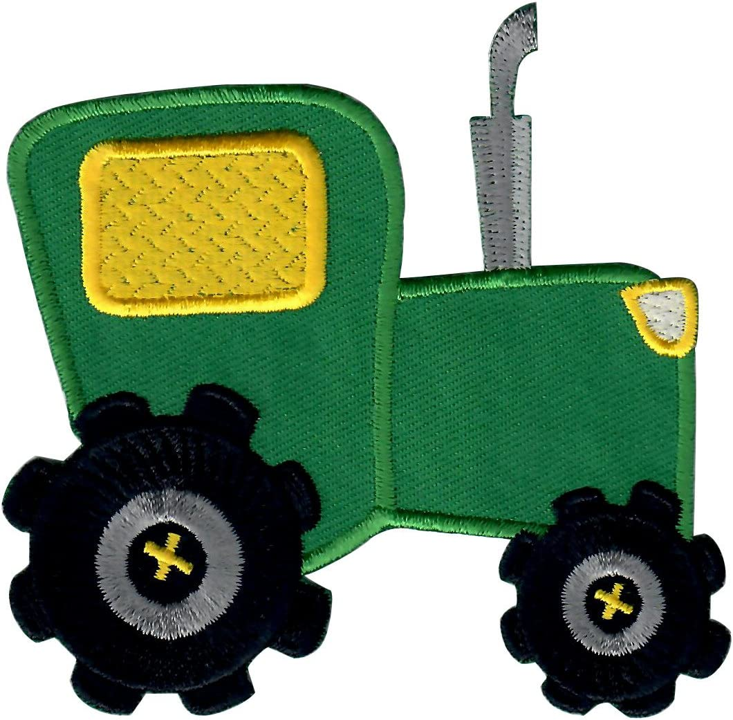 Farm Tractor Fully Embroidered Iron On Patch Truck Green