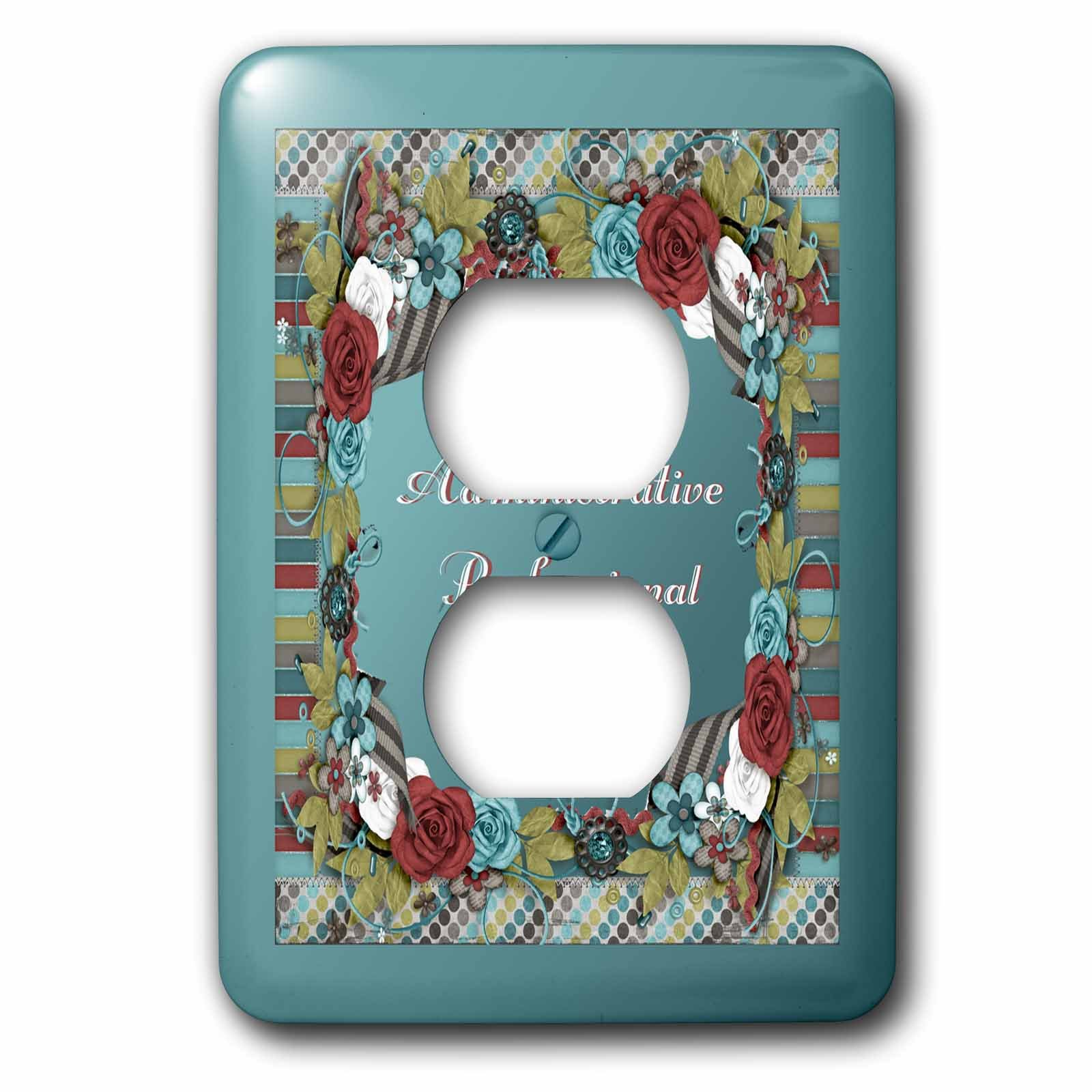 Beverly Turner Administrative Professionals Day - Frame of Flowers, Strips, Circles, Administrative Professionals Day - Light Switch Covers - 2 plug outlet cover (lsp_239565_6)