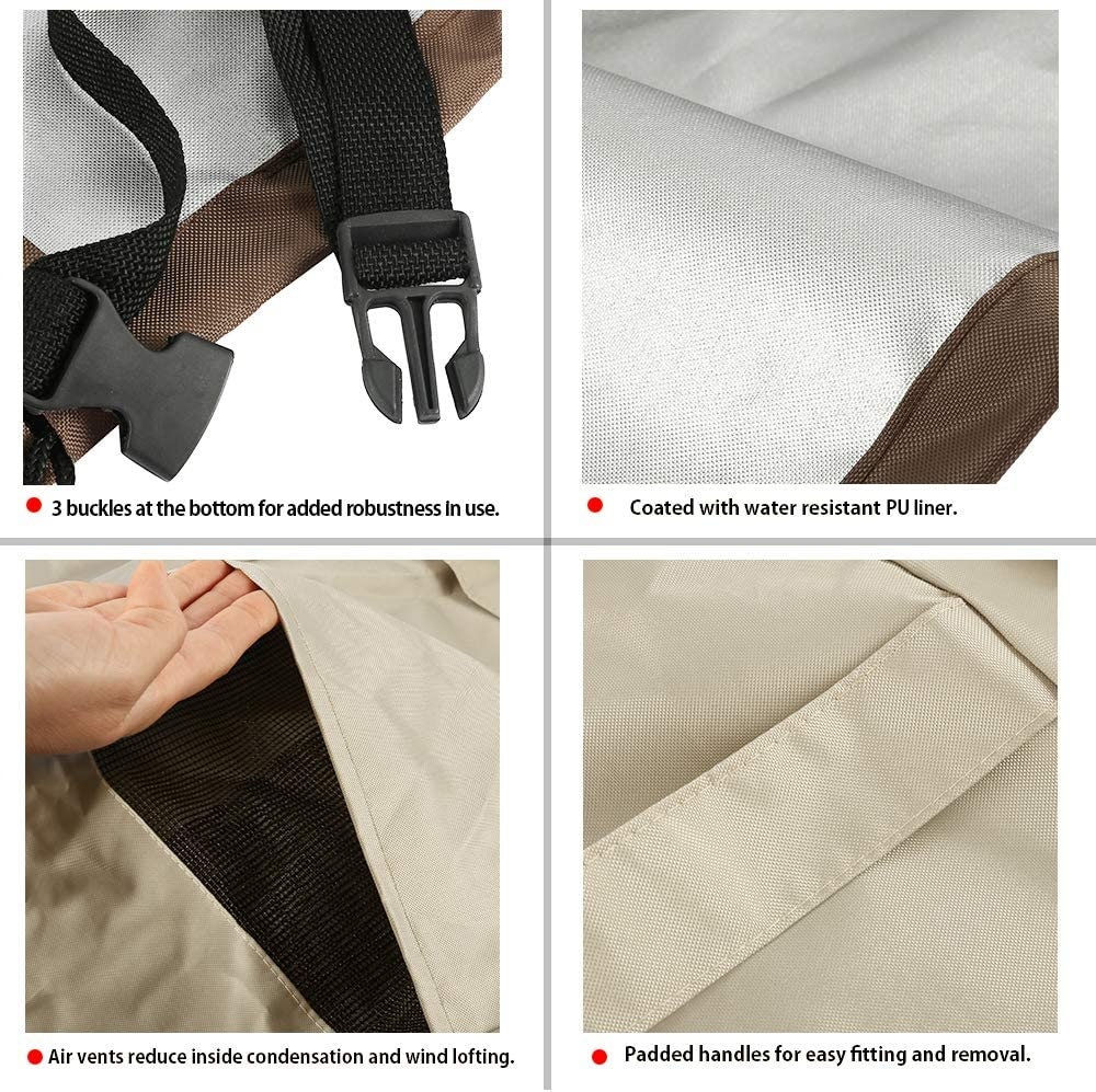 Patio L Shape Sofa Covers 420D, V-Shaped-Facing Universal Outdoor Waterproof Dustproof Sectional Furniture Cover with Locking Rope