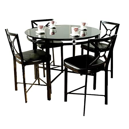 Home Source Industries 11884 Excalibur Counter Height Dinning Set With Round Glass Table And 4