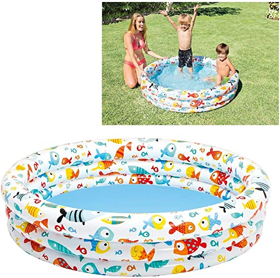 Intex 59431NP - Piscina hinchable 3 aros peces 132 x 28 cm, 248 ...