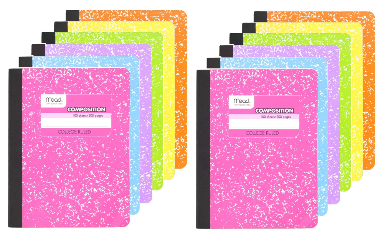 Mead Composition Book, College Ruled  Notebook, 100 sheets (200 Pages), Pastel Color Notebooks, 12 Pack
