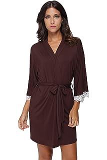Women s Kimono Robe Soft Short Modal Cotton Bathrobe for Bride and  Bridesmaid with Lace Trim c78b20725