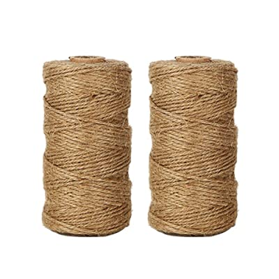 Tenn Well Natural Jute Twine, 656 Feet 2Ply Brown Twine String for Crafts, Gift Wrapping, Packing, Gardening and Wedding Decoration (2PCS X 328 Feet) : Office Products