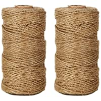 Anpro 320 Feet Jute Twine and 50 Pcs 3.5cm Wood Clothespins Natural Jute Twine Arts Crafts Gift Christmas Jute Twine Packing Industrial Twine Materials Durable String for Gardening Applications