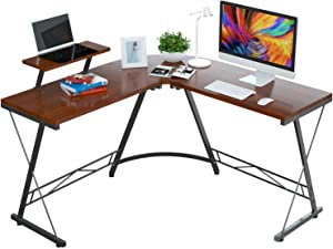 Foxemart L Shaped Desk Home Office Desk with Round Corner Modern Sturdy Computer Desk with Large Monitor Shelf for Workstation, Bedroom, Living Room, Teak