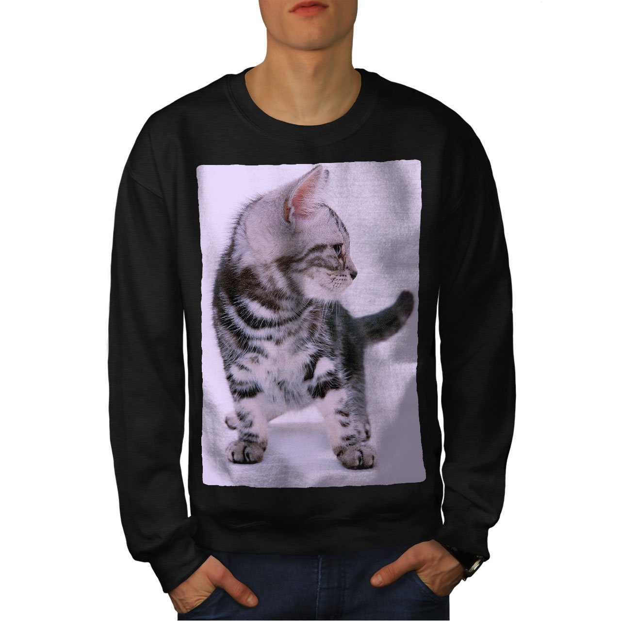Cat Casual Jumper wellcoda Cat Photo Kitty Animal Mens Sweatshirt