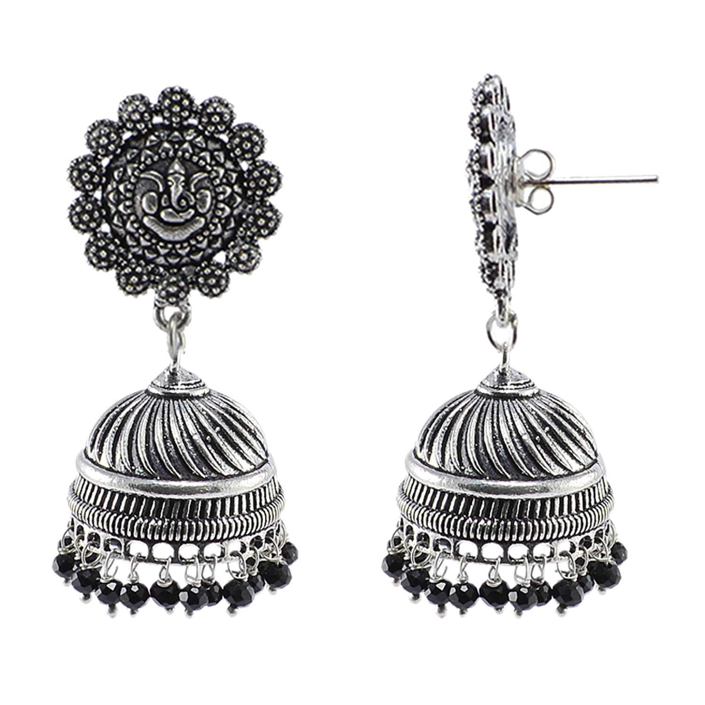 Black Beaded Indian Ganesha Jhumki-Handmade Hook Earrings-Jaipur Jewellery Silvesto India PG-107230