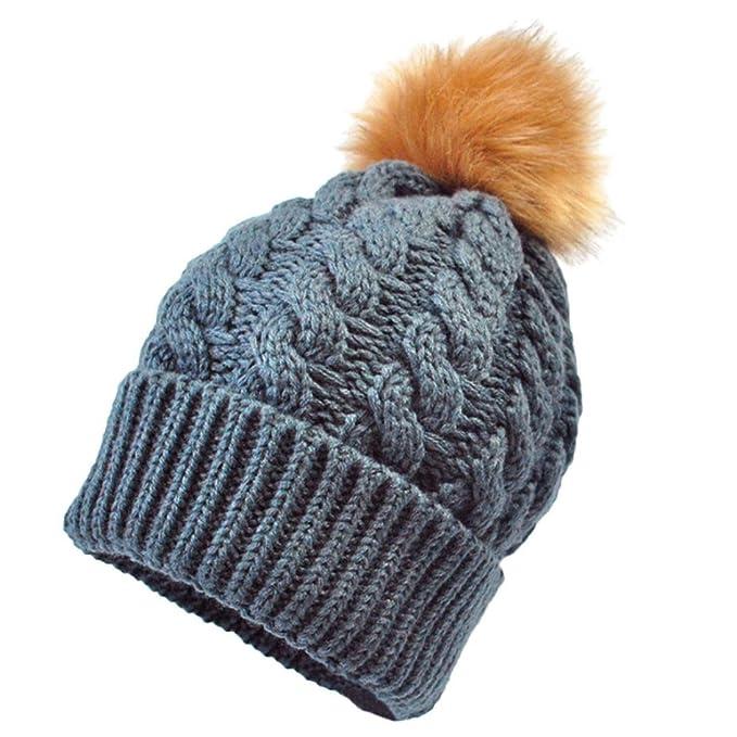 SUKEQ Cute Newborn Kids Knitted Wool Winter Warm Beanie Hats with Pom Baby Hemming Hat