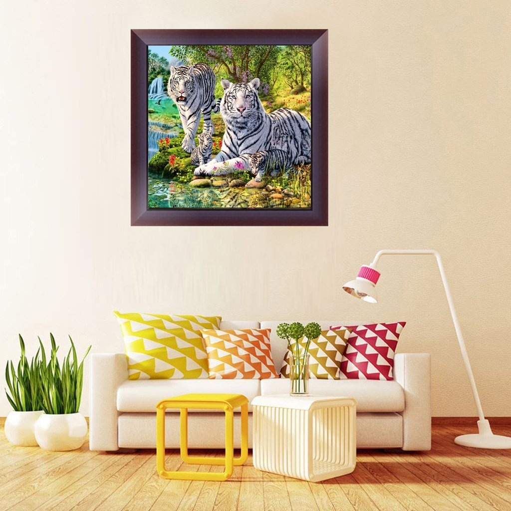 White Tiger Crystal Rhinestone Embroidery Cross Stitch Arts Craft Supply Canvas Wall Decor DIY 5D Diamond Painting by Number Kit