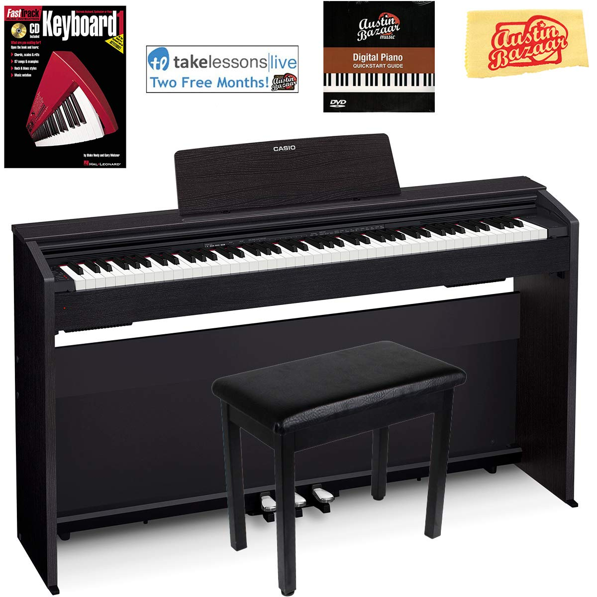 Casio Privia PX-870 Digital Piano - Black Bundle with Furniture Bench, Instructional Book, Online Lessons, Austin Bazaar Instructional DVD, and Polishing Cloth by Casio