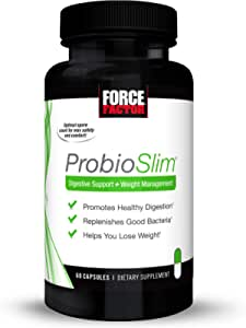 ProbioSlim Probiotic and Weight Loss Supplement for Women and Men with Probiotics, Burn Fat, Lose Weight, Reduce Gas, Bloating, Constipation, and Support Digestive Health, Force Factor, 60 Capsules