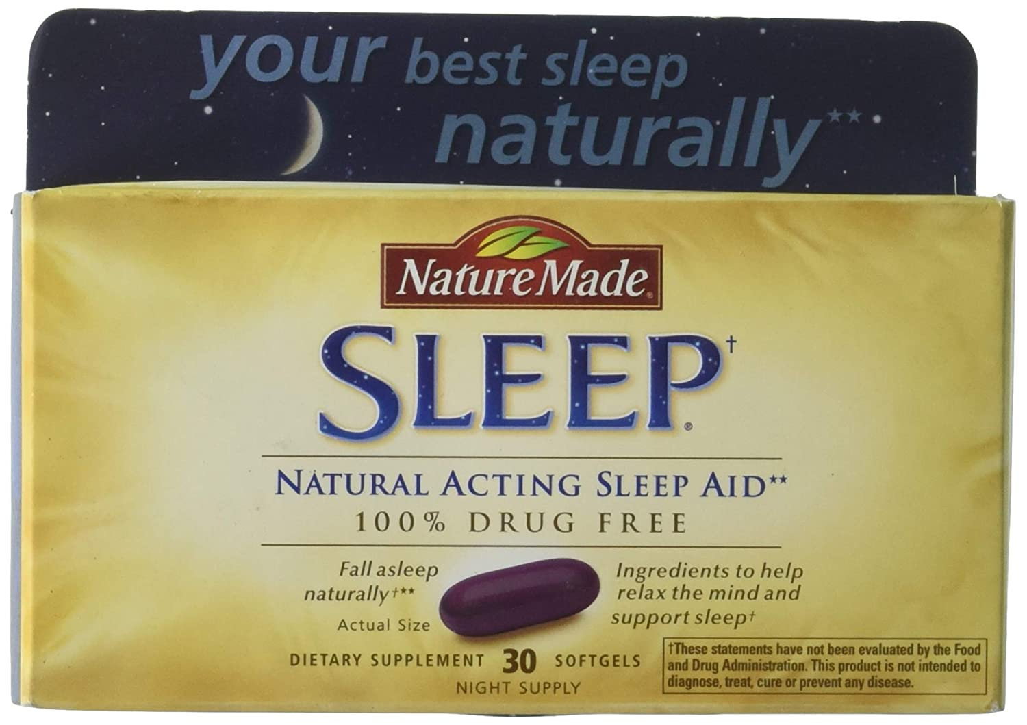 Nature Made Natural Sleep Aid Liquid Softgels 30 ea (Pack of 4)