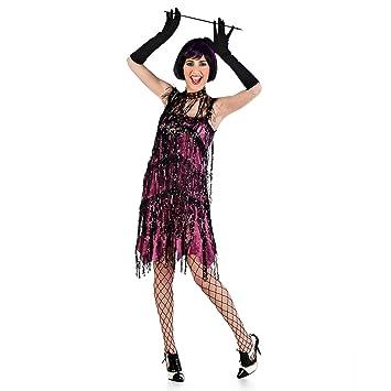 Vestido de Charleston rosa disfraz de señora de los años 20 para fiesta y carnaval -