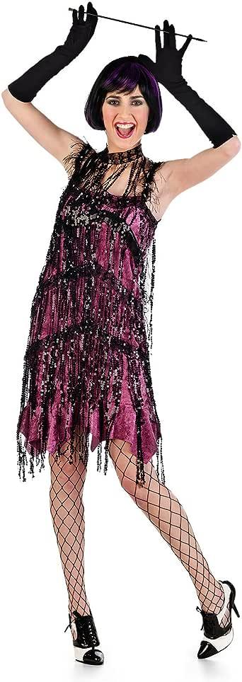 Vestido de Charleston rosa disfraz de señora de los años