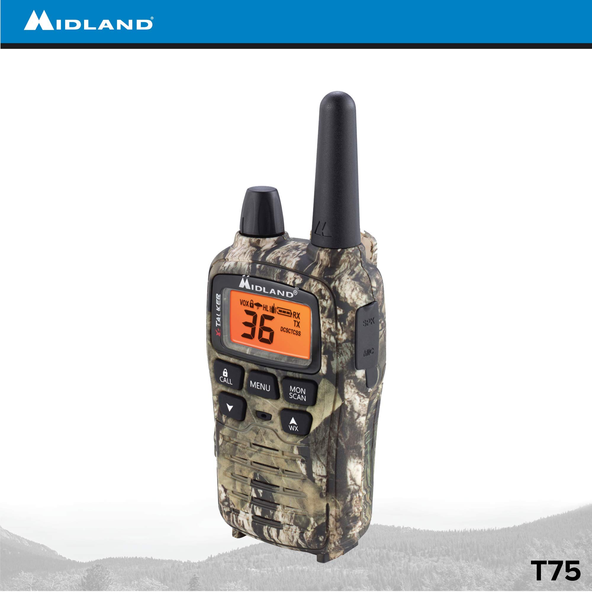 Midland - X-TALKER T75VP3, 36 Channel FRS Two-Way Radio - Up to 38 Mile Range Walkie Talkie, 121 Privacy Codes, & NOAA Weather Scan + Alert (Pair Pack) (Mossy Oak Camo) by Midland (Image #8)