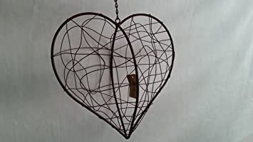 White Rusty Metal Large Heart Iron Wire Hanging Wall Garden Wedding Decoration