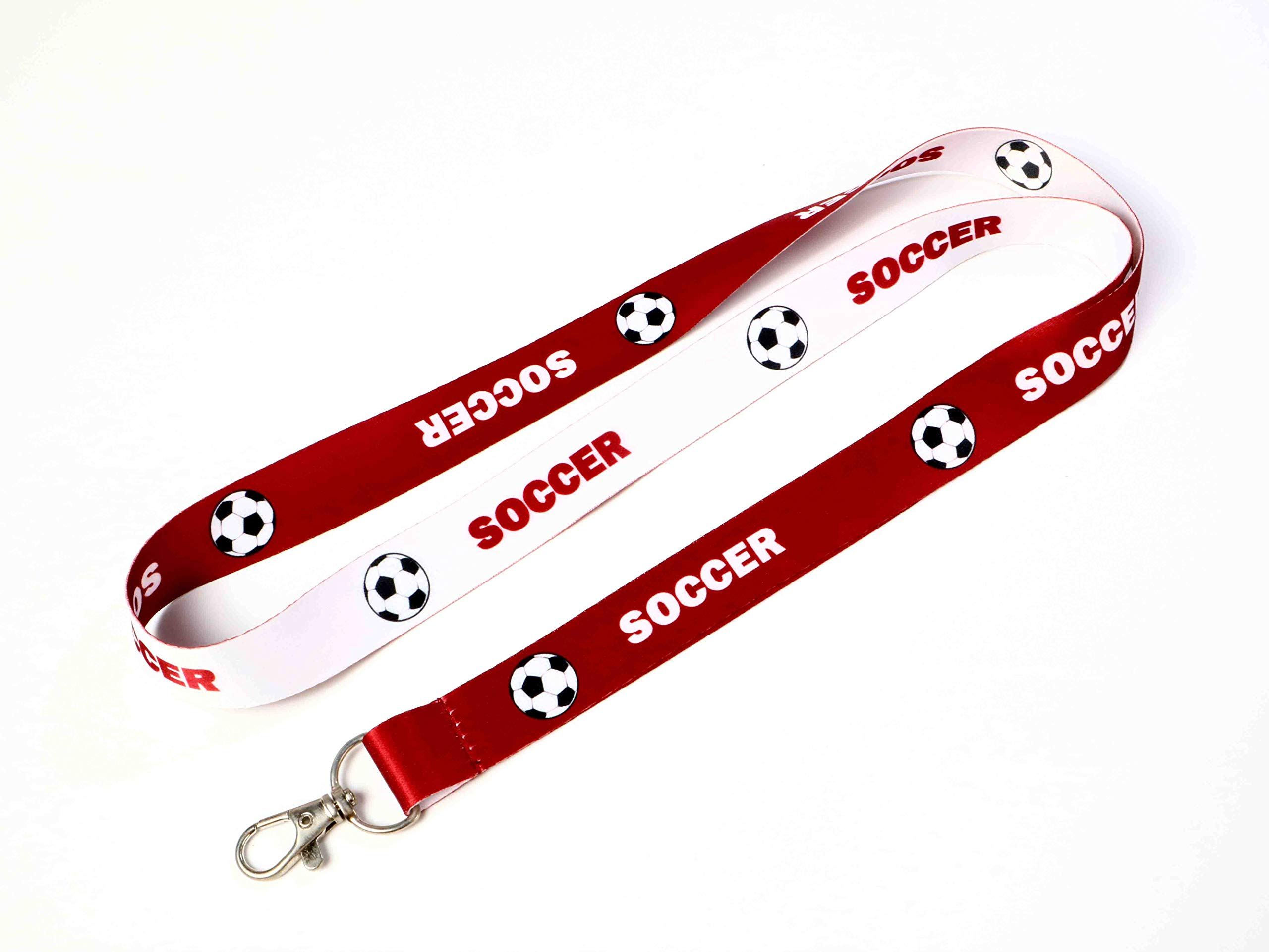 RockNerdy - Soccer Reversible Lanyard Keychain w/Clasp - ID Lanyard for Keys Badge USB Whistle - Sports Fan ID Holder Keychain for College Coach Referee Kids Mom Dad (Maroon or White, 25 Lanyards) by Lanyards and More