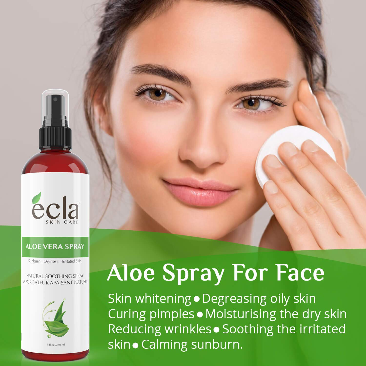 Aloe Vera Spray Mist for Face Body and Hair - Made in Canada with Organic Real Juice (Not Powder) and Seaweed 8 Oz - 240ml Natural Formula Toner to Moisturize and Rebalance Skin and Relieve Sunburns