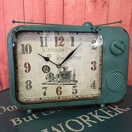 Fengfeng Antiguo Reloj de Escritorio, Reloj de Mesa Vintage Retro Mantel Relojes Metal Ornamento silencioso