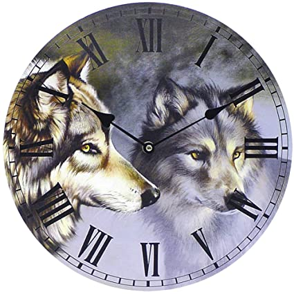 amazon com wolf wall clock nature themed room decoration eye