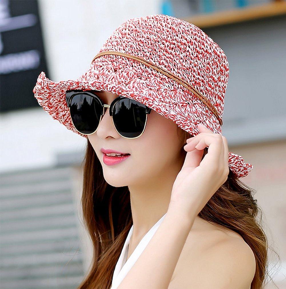 747bca6f8b6da TREESTAR Casquillo casual de Panamá Encantador mujer sombrero de sol de  borde redondo Paja sombrero para ...