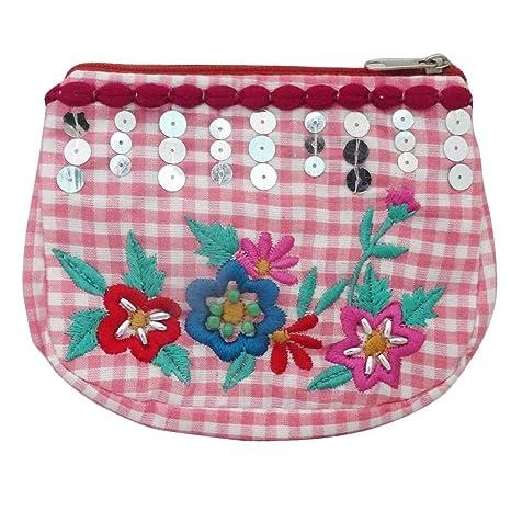 bolsa hecha a mano indio bordado de tela de lona monedero ...