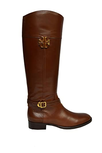 Tory Burch Boots Galleon Leather Eloise Riding TB Metal Logo Gold Hardware  (7, Almond