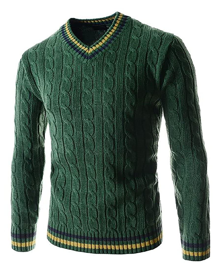Smeiling Mens V Neck Long Sleeve Twist Slim Fit Sweater