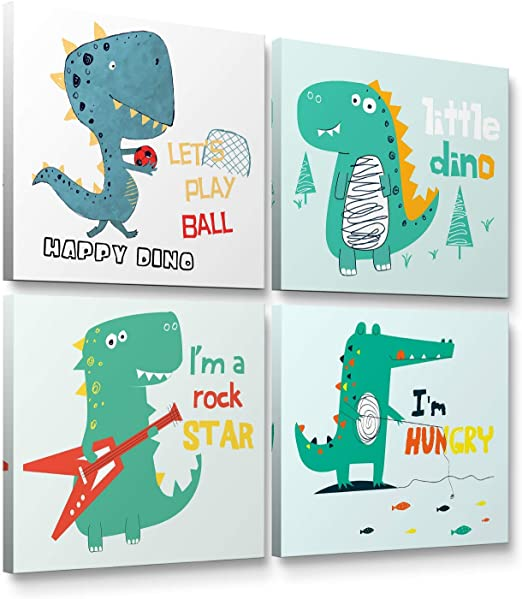 Amazon Com Niwo Art Dino Combo 1 Cartoon Dinosaur Canvas Wall Art Home Decor Gallery Wrapped Stretched Framed Ready To Hang 12 X12 X3 4 Posters Prints
