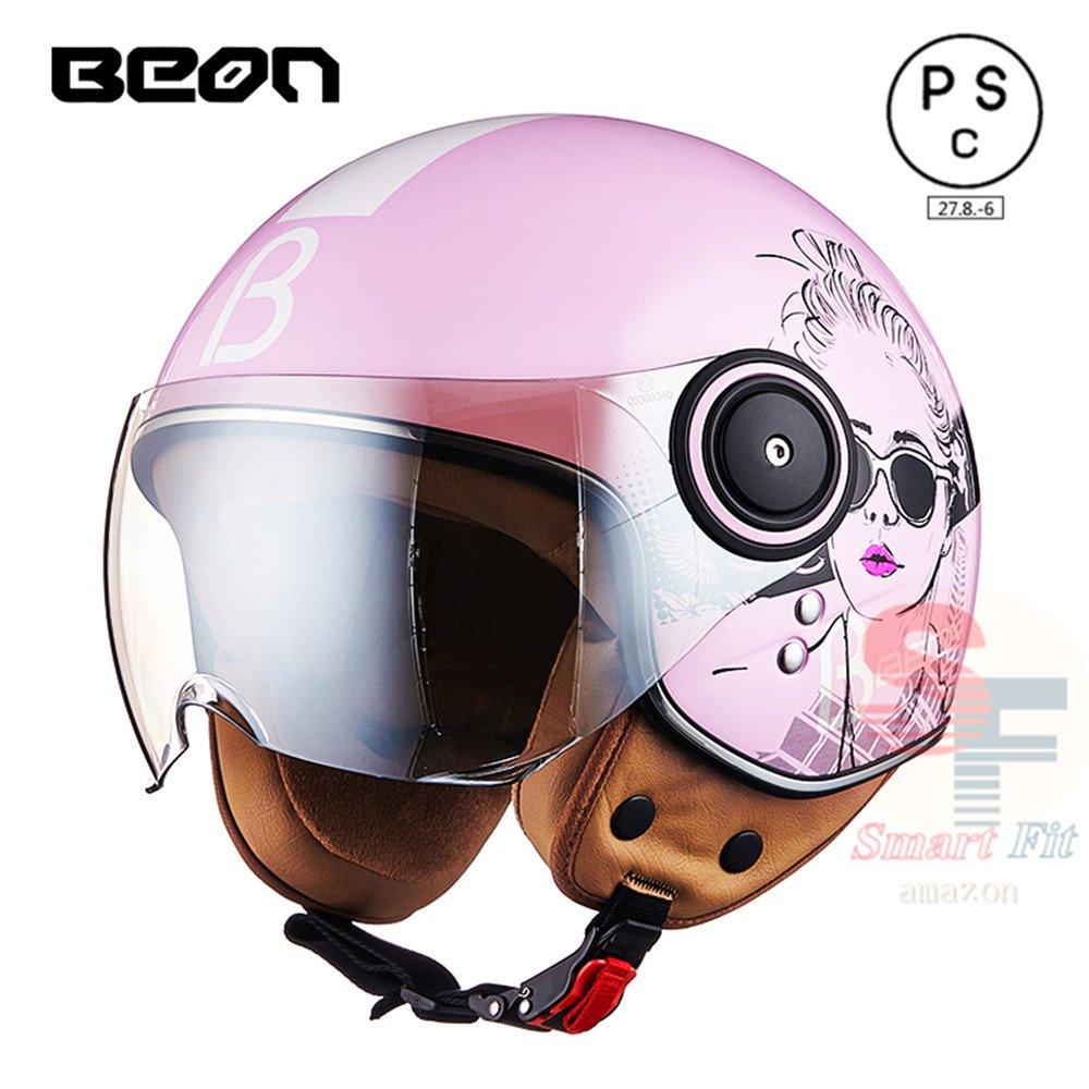 多色選択可能 バイク ヘルメット バイク用  高密度ABS ジェット 3/4ヘルメット ハーレー サングラス付き PSC付き 春、夏、秋、冬BEON-110B B078RJNFVJ M|商品06 商品06 M