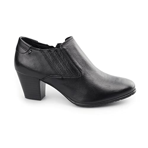 Comfort Plus Lucia Womens Ladies Wide Fit Black Leather Heels Court Shoes