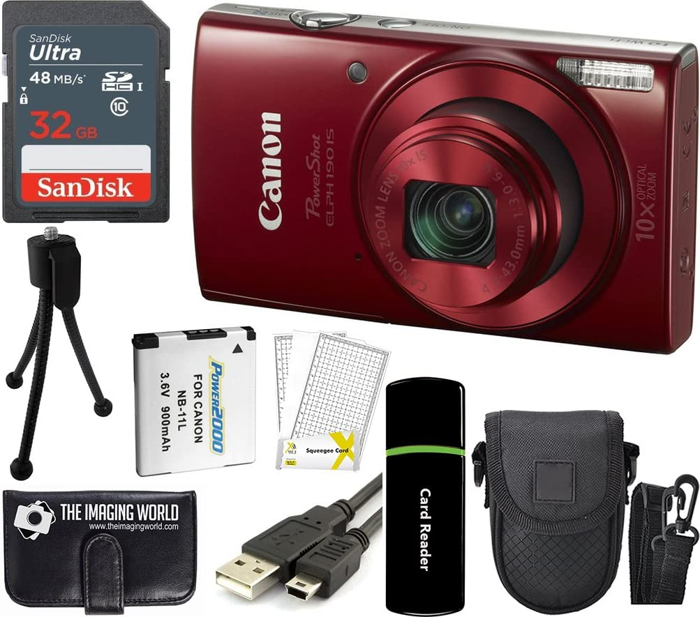 CanonPowerShot ELPH 190 is 20.2MP 10x Zoom Wi-Fi Digital Camera (Red) + 32GB Card + Reader + Spare Battery + Case + Accessory Bundle